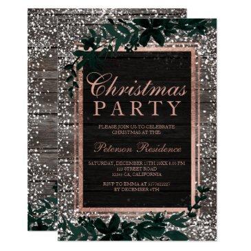 rose gold typography leaf snow wood christmas invitation