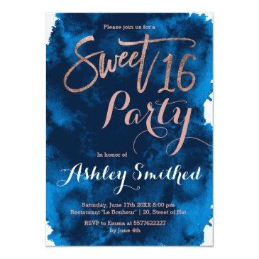 rose gold typography navy blue watercolor sweet 16