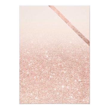 Small Rose Gold Typography Stripe Glitter Blush Sweet 16 Invitation Back View