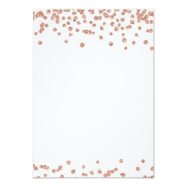 Small Rose Gold White Sweet 16 Birthday Glitter Confetti Invitations Back View