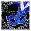 royal blue and black masquerade party invitation