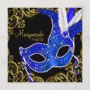 royal blue and black masquerade party invitation