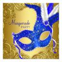 royal blue and gold masquerade party invitation