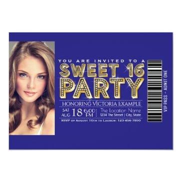 Small Royal Blue And Gold Sweet 16 Ticket Invitations Front View