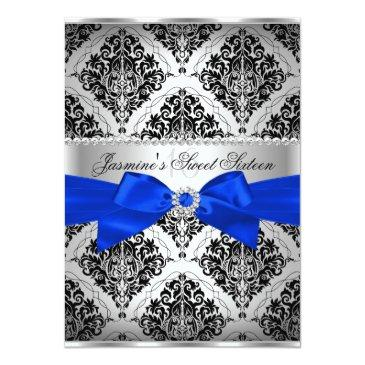 Small Royal Blue & Black Damask Sweet 16 Invitations Front View