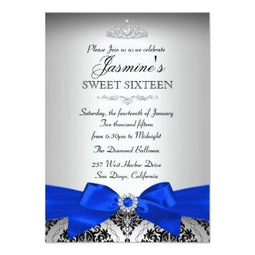 Small Royal Blue & Black Damask Sweet 16 Invitations Back View