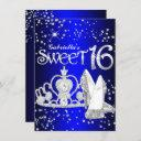 royal blue glitter tiara & heels sweet 16 invite