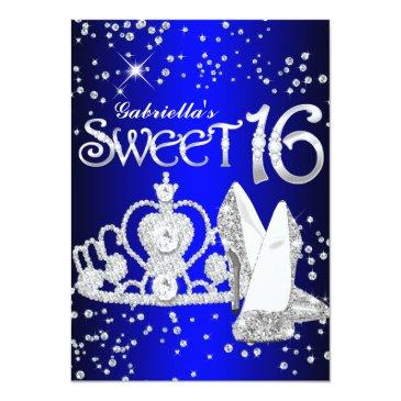 Small Royal Blue Glitter Tiara & Heels Sweet 16 Invite Front View
