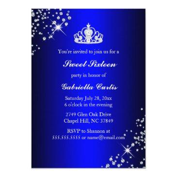Small Royal Blue Glitter Tiara & Heels Sweet 16 Invite Back View