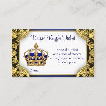 royal blue gold prince diaper raffle ticket enclosure
