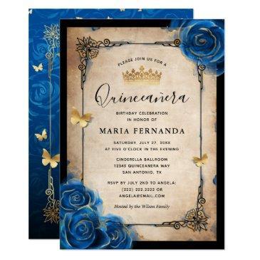 royal blue gold watercolor elegant quinceanera invitation