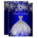 royal blue pearl silver dress snowflake sweet 16 invitation