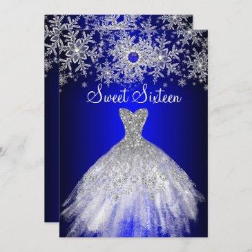 royal blue pearl silver dress snowflake sweet 16 invitation