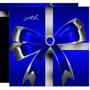 royal blue silver bow 30th jewel birthday party invitation