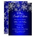 royal blue silver snowflake sweet 16 invitation