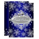 royal blue sparkle snowflake sweet 16 invite