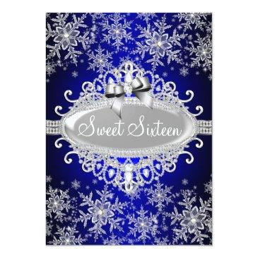 Small Royal Blue Sparkle Snowflake Sweet 16 Invite Front View