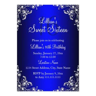 Small Royal Blue Sweet 16 Silver Pearl Damask Invitations Front View