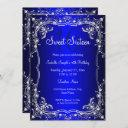 royal blue sweet 16 silver pearl damask party invitation