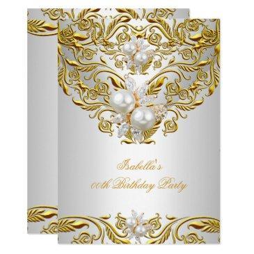 royal gold on white pearl elegant birthday party