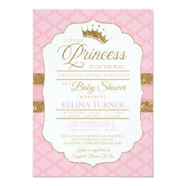 Small Royal Little Princess Pink Baby Shower Invitation Front View