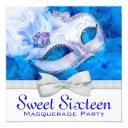 royal navy blue masquerade party invitation