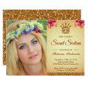royal princess gold glitter photo sweet sixteen invitation