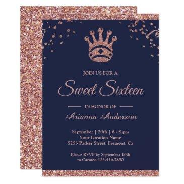 royal princess rose gold glitter sweet sixteen invitation