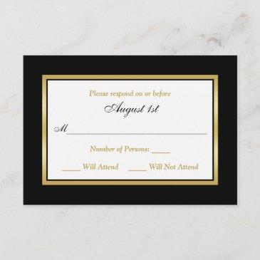 rsvp invitations | black and white | gold