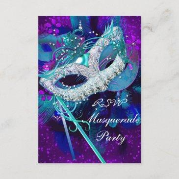 rsvp masquerade ball party teal blue purple masks