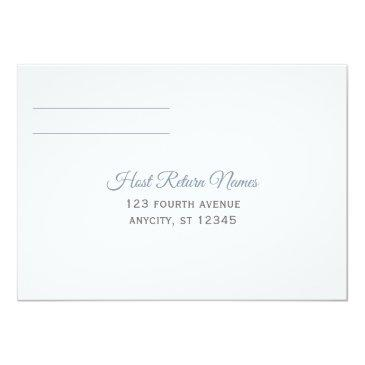 Small Rsvp Postinvitations | Brush Calligraphy - Dusty Blue Back View