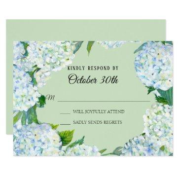 rsvp wedding floral white hydrangea mint green invitation