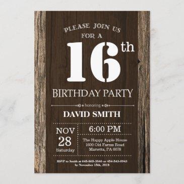 rustic 16th birthday invitation vintage wood