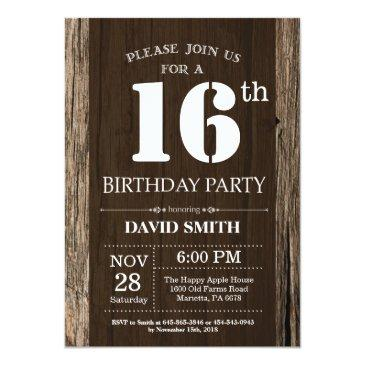 rustic 16th birthday invitation vintage wood