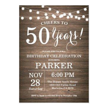 Small Rustic 50th Birthday Invitation Wood Front View