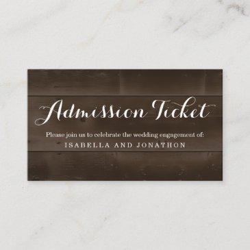 rustic admission ticket enclosure invitations