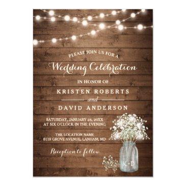 rustic baby's breath mason jar lights wedding