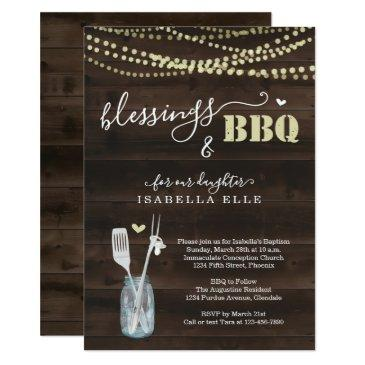 rustic baptism / christening bbq party invitation