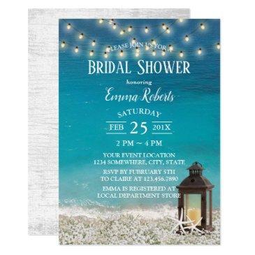 rustic beach lantern string lights bridal shower invitation