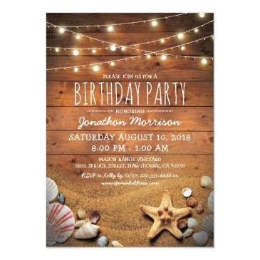 Small Rustic Beach Tropical Nautical Birthday Party Invitations Front View