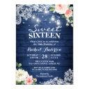 rustic blue string lights floral sweet 16 birthday invitation