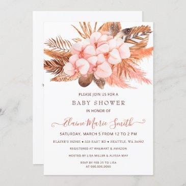 rustic boho blush pampas grass girl baby shower invitation