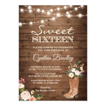 Small Rustic Boots Cowgirl Sweet Sixteen 16 Invitation Front View