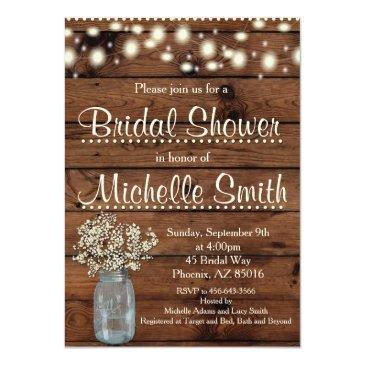 rustic bridal shower invitation, mason jar, floral