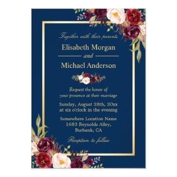 rustic burgundy floral gold navy blue wedding