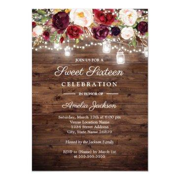Small Rustic Burgundy Floral Lights 16th Sweet Sixteen Invitations Front View