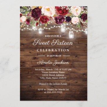 rustic burgundy floral lights 16th sweet sixteen invitation