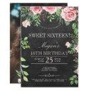 rustic chalkboard pink roses photo sweet sixteen invitation