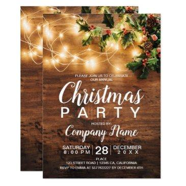 rustic christmas country corporate mistletoe light invitations