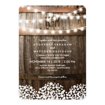 rustic country baby's breath string lights wedding